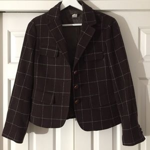 J.Crew Brown and Teal Wool Blazer Size 6